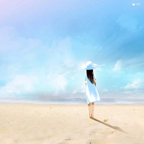 海边女孩伤感背影图片