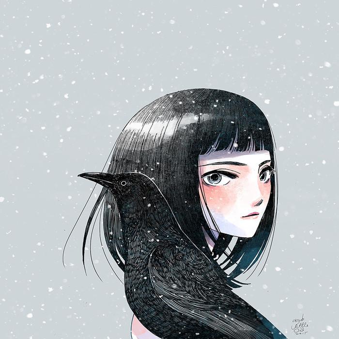 台湾插画师Little oil 女孩系列插画