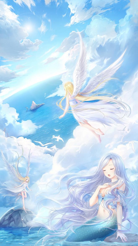 美人鱼 天使天蓝色手机壁纸