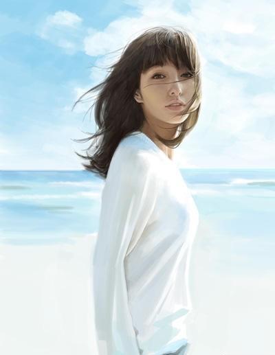 小清新海边的唯美意境女生