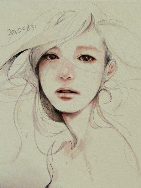 简笔画,纯手绘伤感女孩