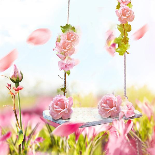 唯美粉色花朵背景图