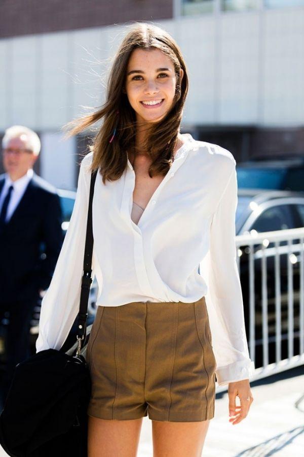 欧美白衬衫美女的街拍图片