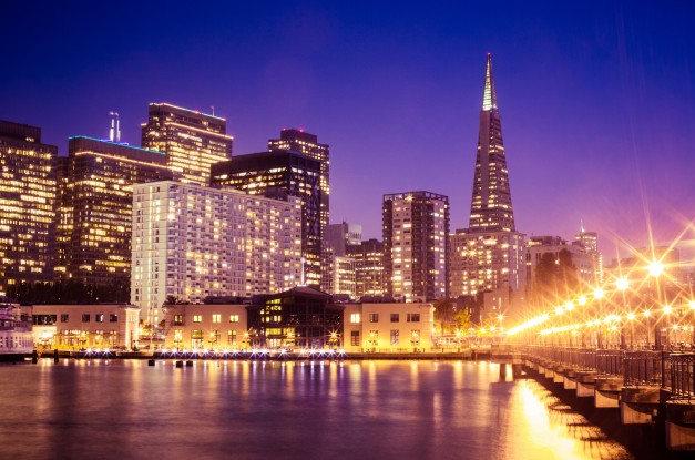 风景素材,旧金山夜景灯光图片