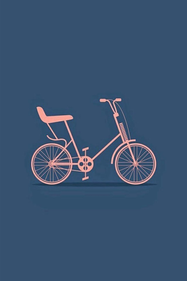 小清新简笔画自行车高清手机壁纸