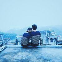 简单意境情侣头像_蓝色系双人唯美情头