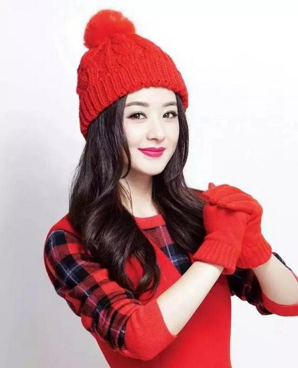 美女明星赵丽颖喜庆唯美红色头像