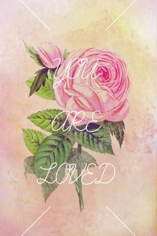 手绘玫瑰文字手机壁纸下载免费