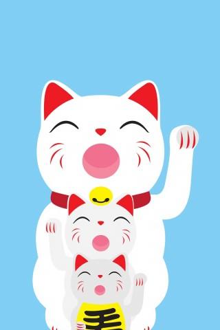 Q版招财猫图片手机桌面壁纸