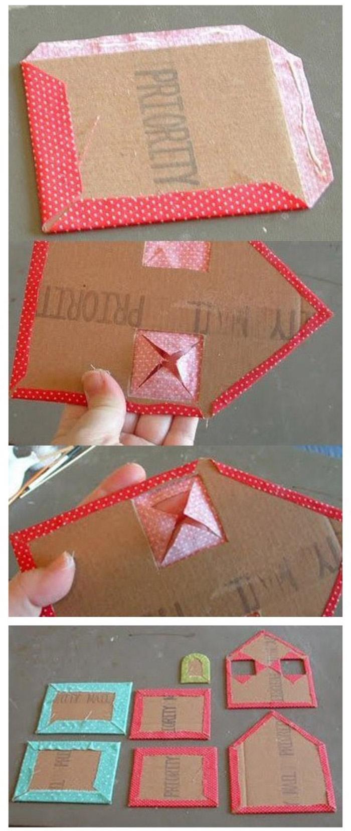 硬纸板布料手工制作储藏盒教程图解
