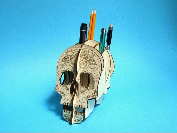 手工制作骷髅头立体笔筒教程