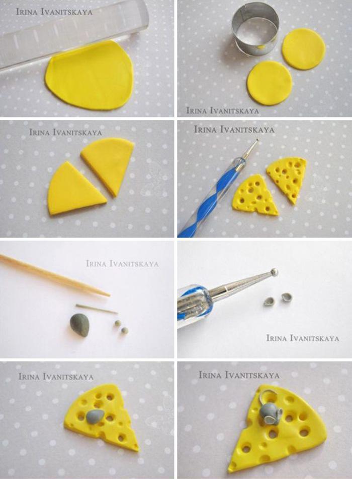 粘土手工制作奶酪耳环饰品教程图解