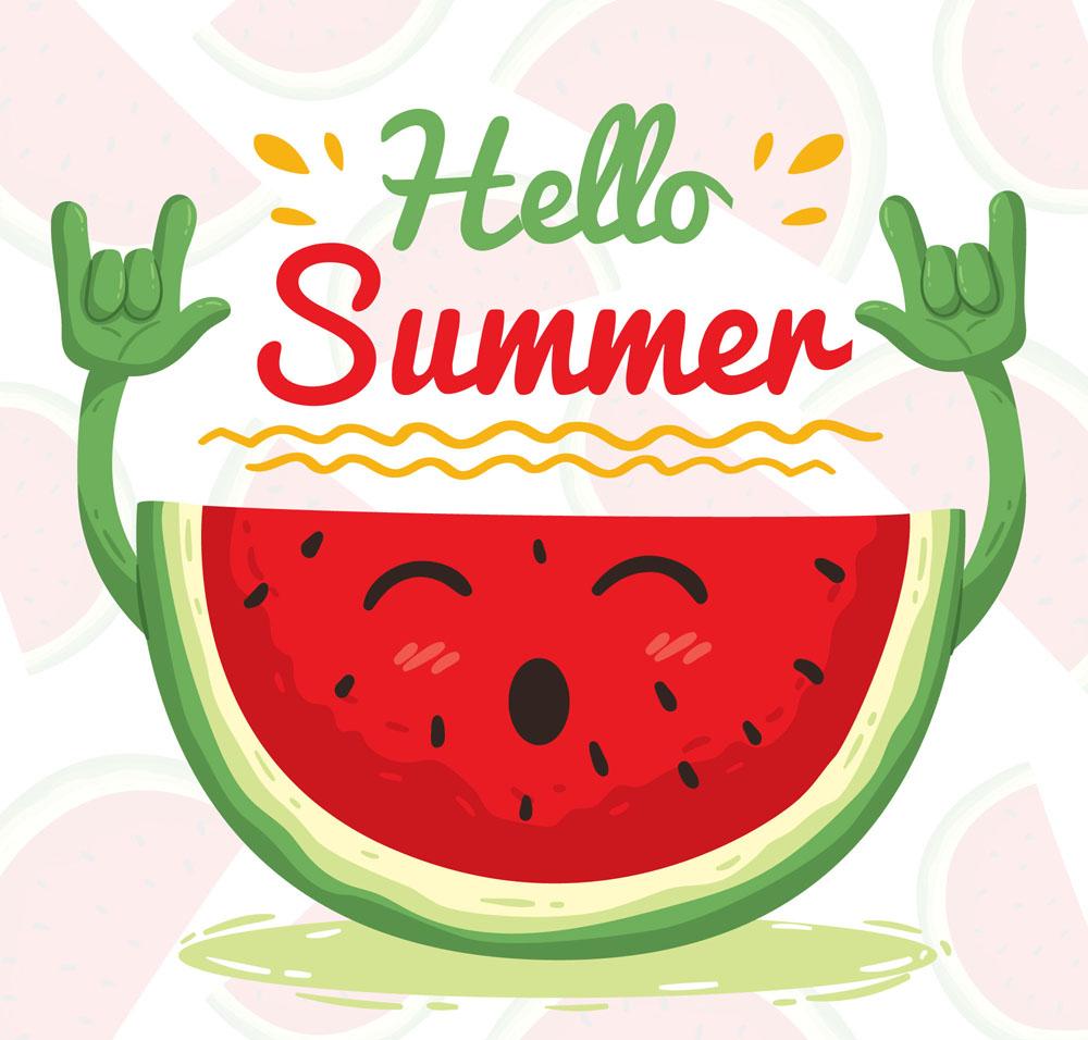 可爱夏季打招呼的笑脸西瓜矢量图