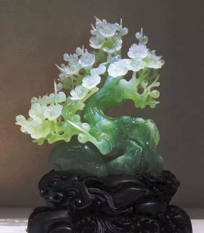 翠玉渡白花雕素材图片,翠玉渡白花雕