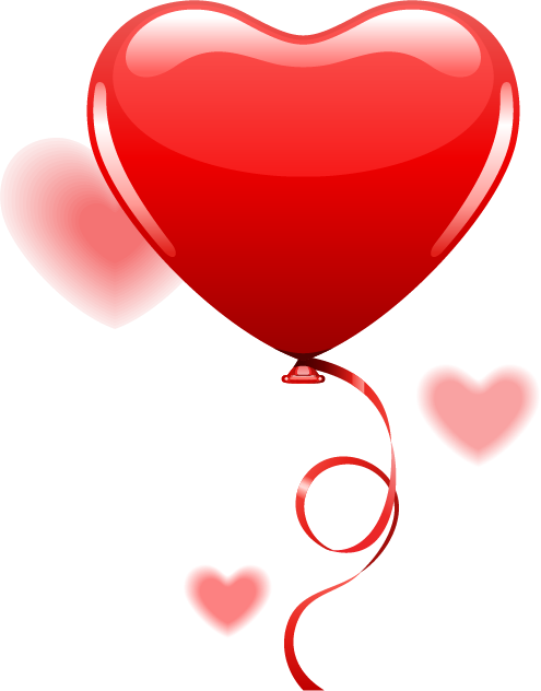 浪漫爱情情人节心形气球丝带PSD/psd源文件