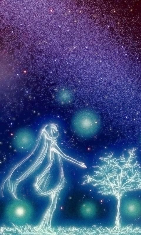 星空下的少女安卓动漫壁纸