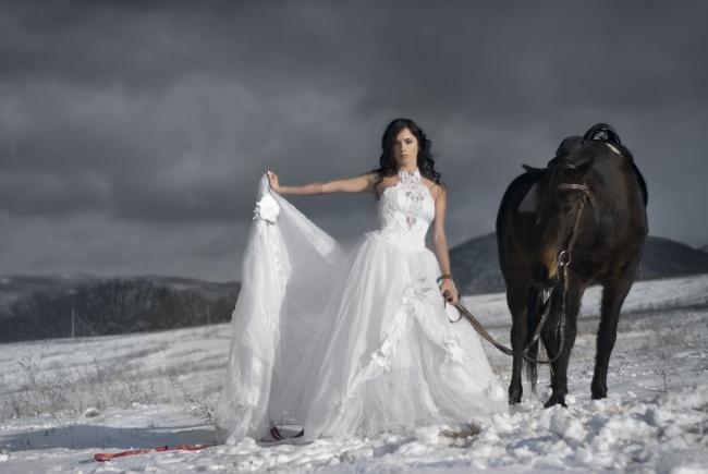 挽起婚纱牵着马的新娘图片